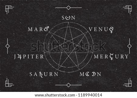 Celestial Objects as Days of the Week Circle Seven Inverted Roman Capitals Style Logos with Moon Mars Mercury Jupiter Venus Saturn Sun Lettering and Astrological Signs Symbols Vector Design #1189940014