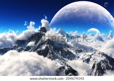 Stock Photo Celestial view of snow capped mountains and an alien planet.