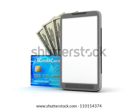 Cell phone, credit card and dollar bills on white background