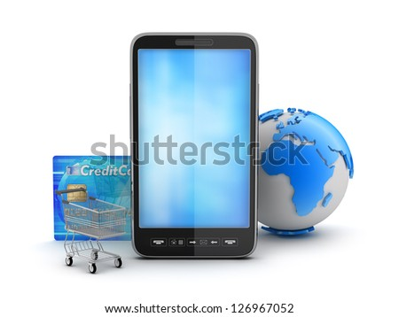 Cell phone, credit card, shopping cart and earth globe