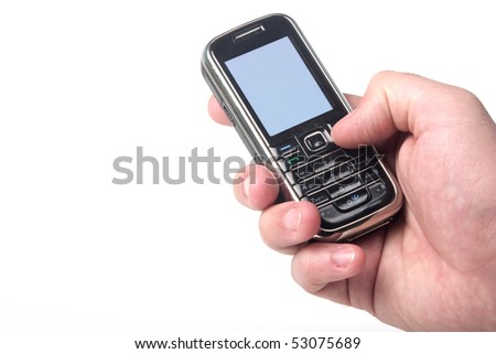 Cell phone in hand. Clipping path of screen for easy edit included.