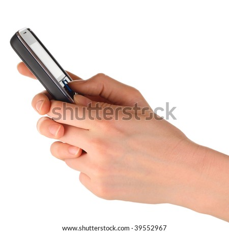 Cell phone in hands - stock photo