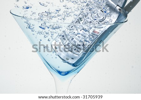 Cell Phone in water - stock photo