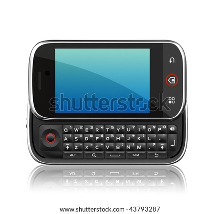 Cell phone on white background. 3d render scene. Clipping path.