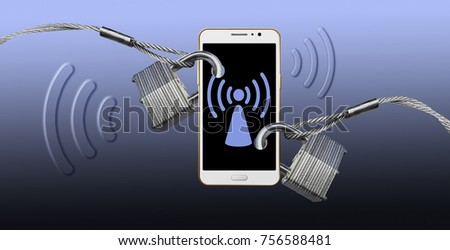 Cell phone security and preventing signal theft is the theme of this illustration. Wi-fi signals, Bluetooth and cellular signals fill the air and are vulnerable to theft.