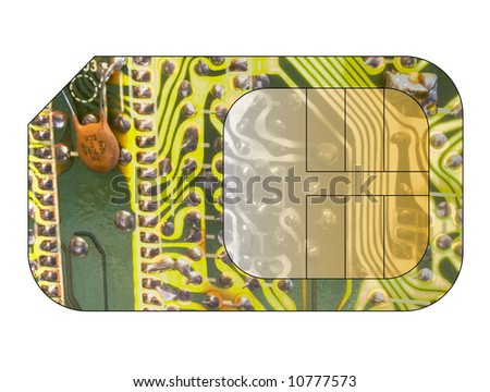 Cell phone sim card with circuit board overlay