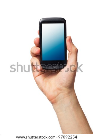 Cell phone (smartphone with touchscreen) in male hand on white