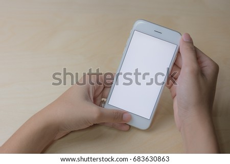 Cell phone using concept with blank screen. #683630863