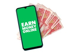 Cell Phone with Hundred Rupees Pakistani Currency bank notes - Earn Money Online - PKR