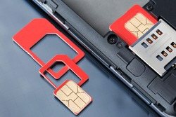 Cell phone with inserted SIM card and SIM card with frames of various sizes.