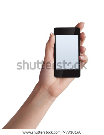 Cell phone with touchscreen in female hand on white background
