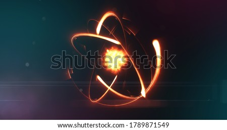 Cell structure of an atom with nucleus under an electron microscope. Energized atom with force field Foto stock ©