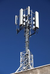 Cell tower in Europe. Mobile phone transmitters in Omis, Croatia.