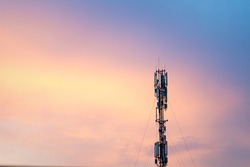 Cell Tower Silhouette Against Orange Sunset Communication Tower Technology Concept Handheld Transmitter Equipment Fort Television Cell Phones Internet Signal