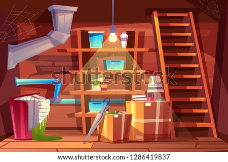 cellar interior, storage of clothing inside the basement in cartoon style. Storeroom with shelves, furniture, pipeline. Illuminated by light of lamp bulb. Architecture background of storehouse Foto stock ©