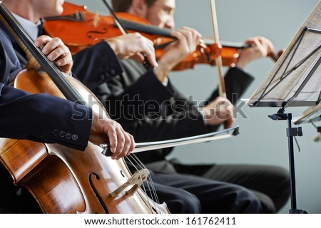 Cellist and violinist playing at the concert