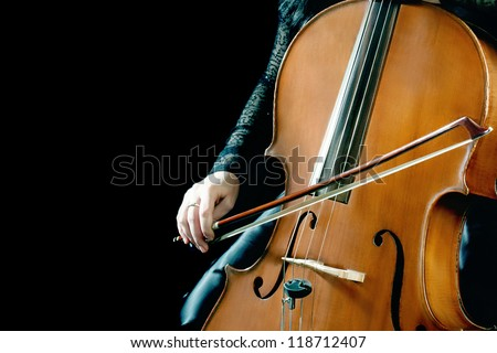 Cello orchestra musical instrument playing cellist musician.