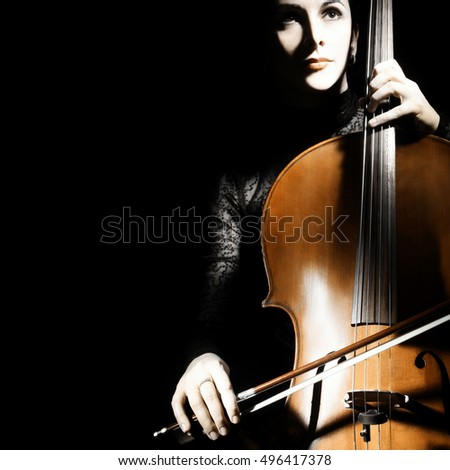 Cello player cellist playing violoncello musical instrument of orchestra