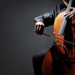 Cello player or cellist performing in an orchestra isolated with copy space
