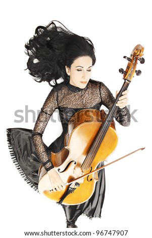 Cello playing cellist musician with flared hair isolated on white background