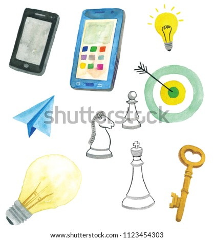 cellphone and light bulb, paper airplane, key, chess, target, mark, hand drawn in watercolor on white background.