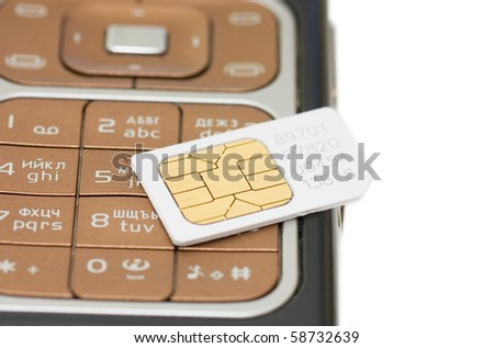 cellphone and sim card  isolated on white background