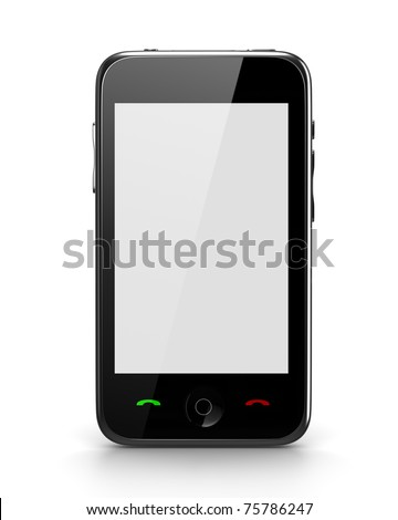 Cellphone front view with white screen  *