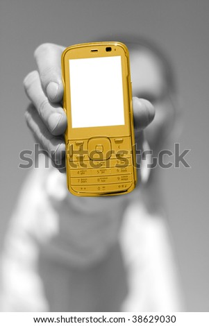 cellphone in hand for advertisement