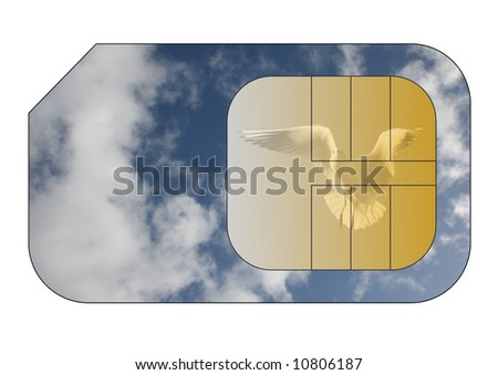 Cellphone sim card with cloudy sky and seagull overlay