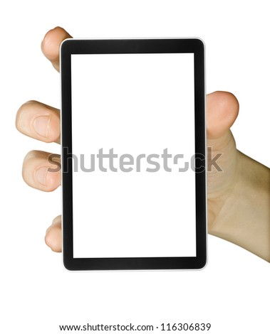 cellphone tablet in hand for advertisement.