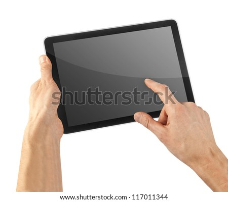 cellphone tablet in hand for advertisement
