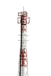 Cellphone telecommunication tower on white isolate background. Use dicut technique to be isolated