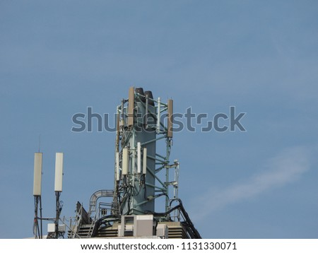 cellular antenna tower and electronic radio transceiver equipment part of a cellular network #1131330071
