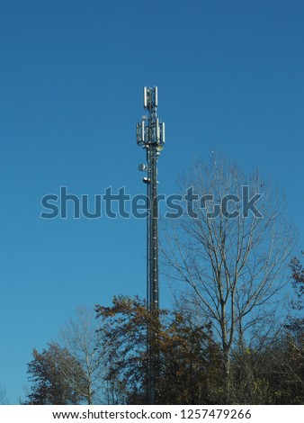 cellular antenna tower and electronic radio transceiver equipment part of a cellular network #1257479266