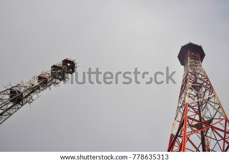 cellular antenna tower and electronic radio transceiver equipment part of a cellular network #778635313