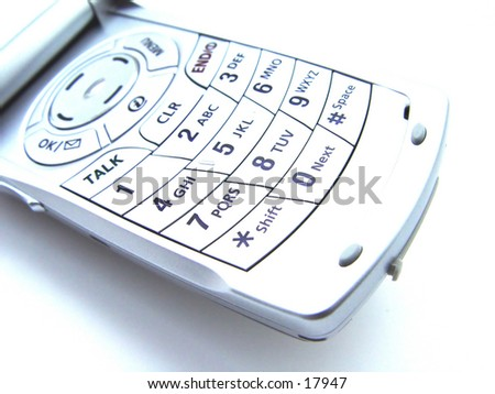 Cellular Phone Keypad isolated on white background, high key image