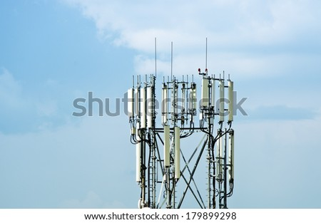 Cellular tower over blue sky