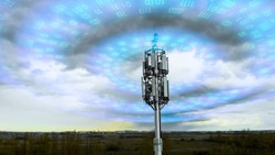 Cellular tower spreading signal 5g, 4g, 3g. Wave radiation effect of mobile tower