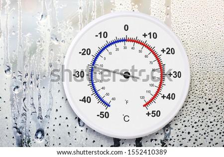 Celsius and fahrenheit scales thermometer for measuring weather temperature. Ambient temperature minus 25 degrees celsius #1552410389