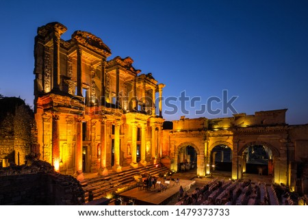 Celsus Library is one of the most beautiful structures in Ephesus. It was built in 117 A.D. Celsus Library was a monumental tomb for Gaius Julius Celsus Polemaeanus. Stock fotó ©