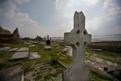 Celtic cross in an Ireland cemetery