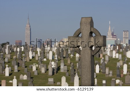 Celtic Cross with Empire State Building in the Background