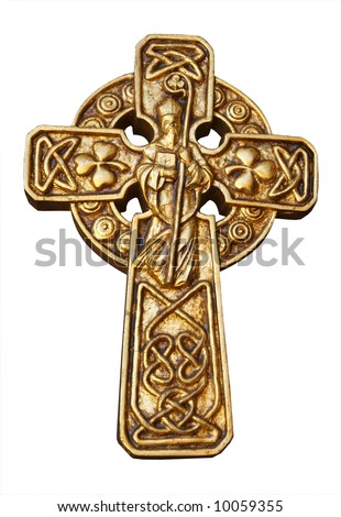 Celtic Cross with st Patrick & Shamrocks isolated with clipping path