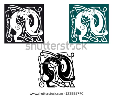 Celtic dogs with ornament and decorative elements. Vector version also available in gallery