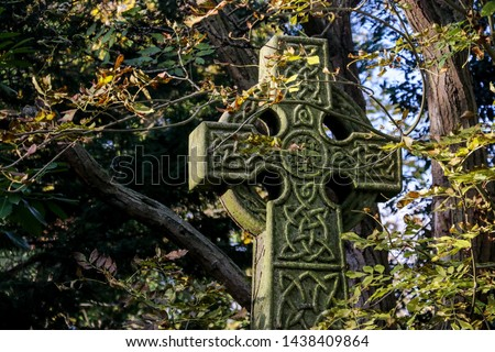 Celtic High Cross surrounded by Autumn foliage in Abney Park Cemetery. The graveyard is one of London's magnificent seven graveyards and now a unique urban wilderness & inner city nature reserve Stock photo ©
