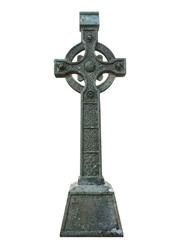 Celtic sandstone cross isolated on white