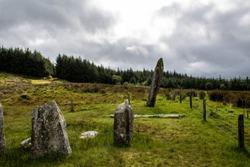 Celtic stone circle near the west Irish mountains