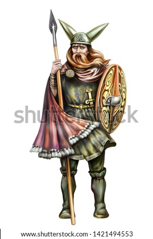 Celtic warrior in helmet with horns, sword and spear, isolated character on white background
