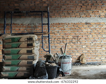 cement bag and equipment with...