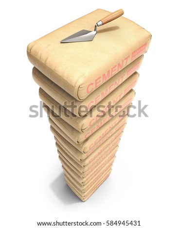 Cement bags stack with trowel on white background - 3D illustration